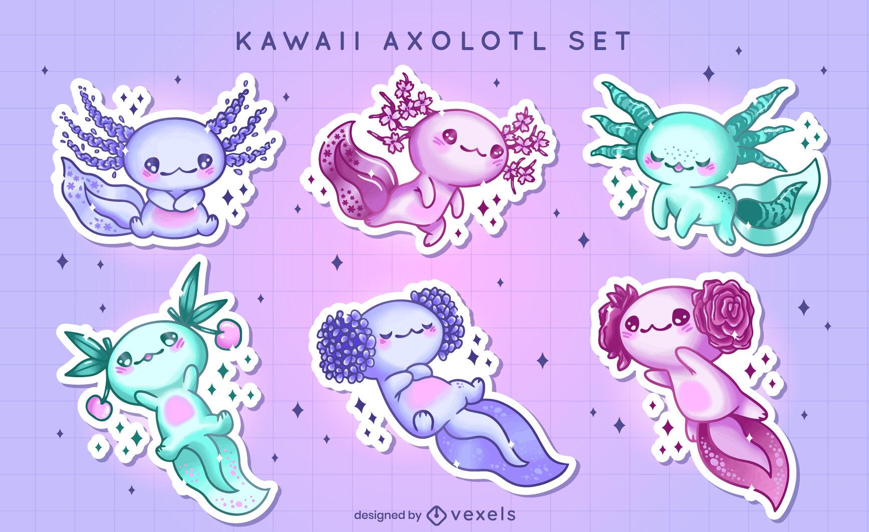 Conjunto de adesivos axolotl Kawaii