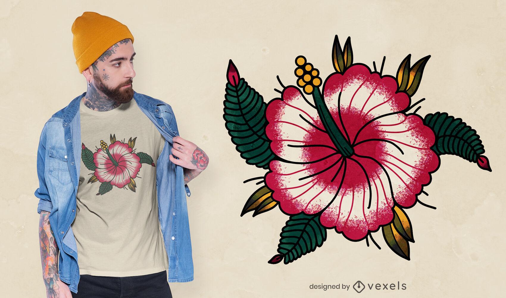 Design de t-shirt com flores de hibisco