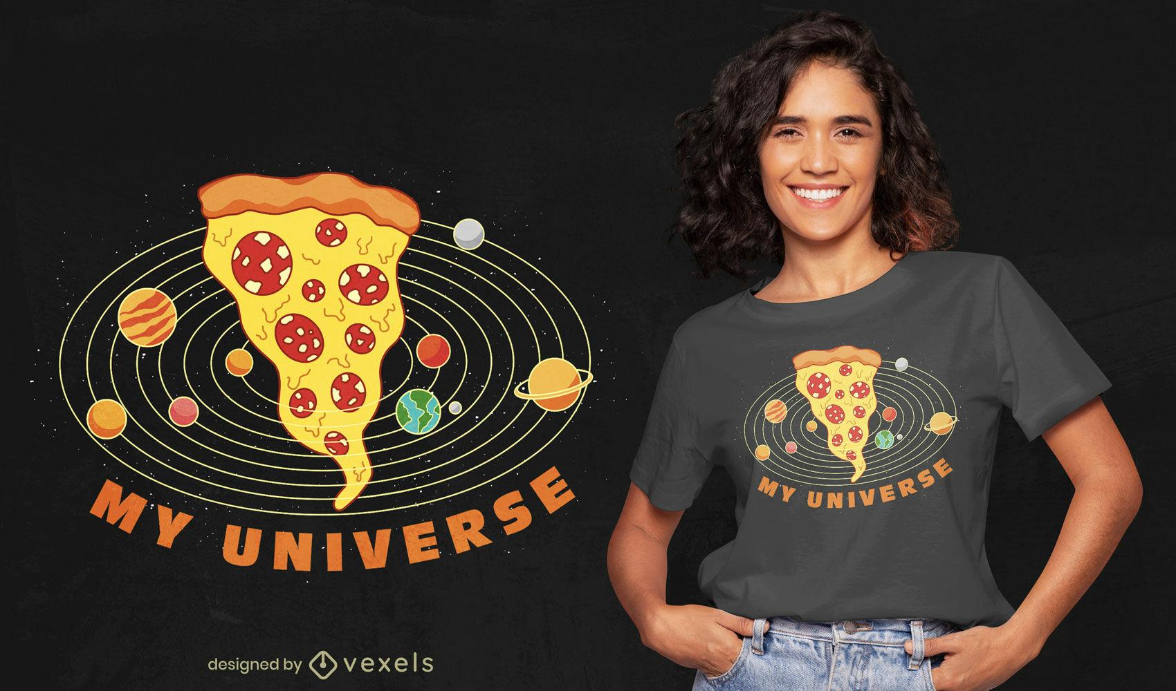 Divertido diseño de camiseta de pizza universe