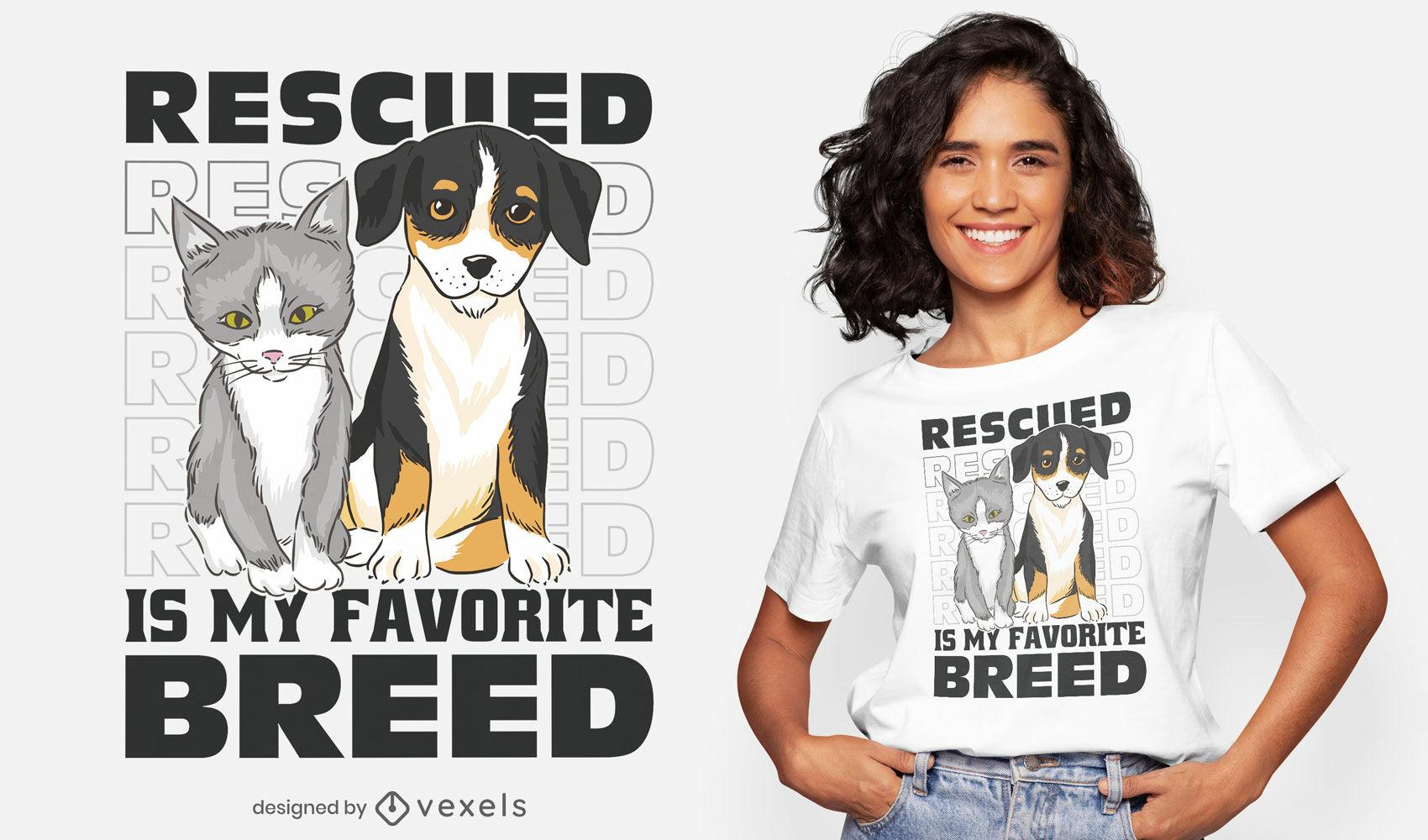 Design de camisetas fofas de animais resgatados