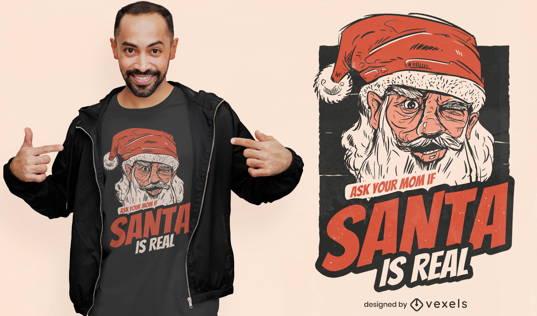 Der Weihnachtsmann ist ein echtes T-Shirt-Design