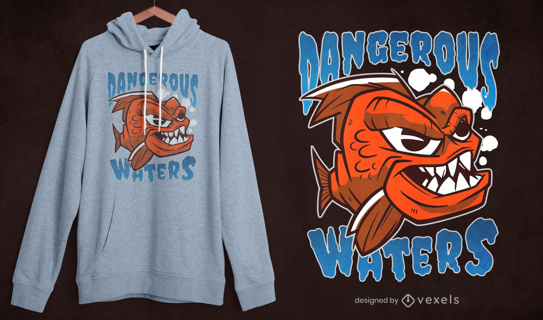 Diseño de camiseta de pez piraña de dibujos animados