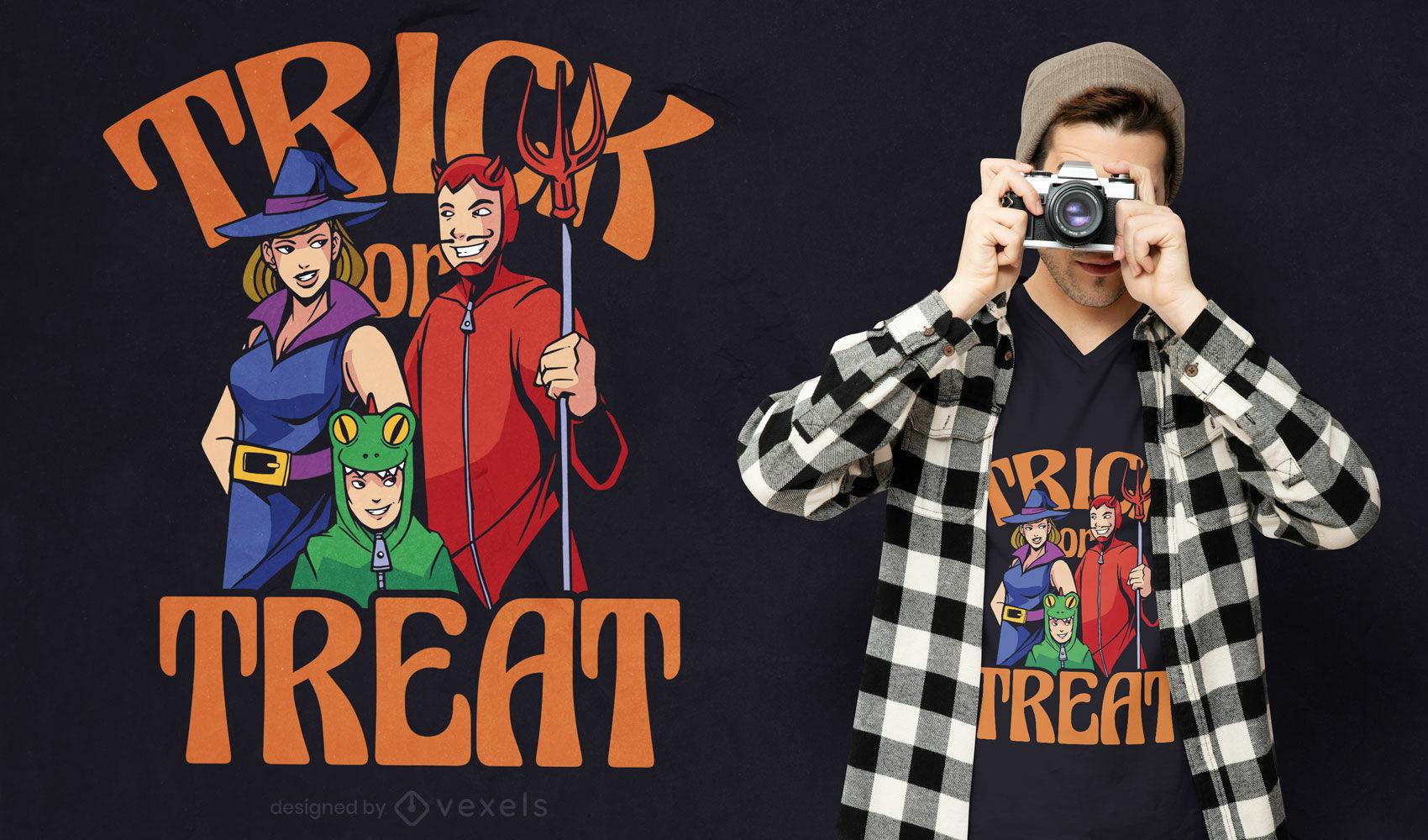 Familia en diseño de camiseta de disfraces de halloween.