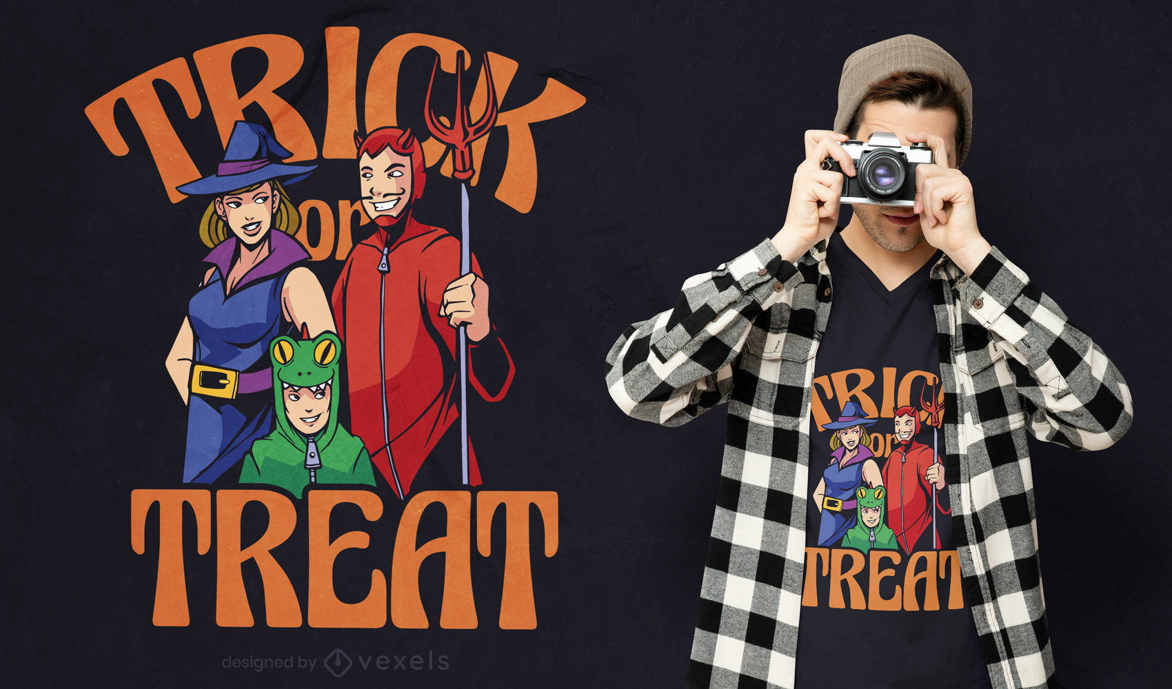 Family in halloween costumes t-shirt design