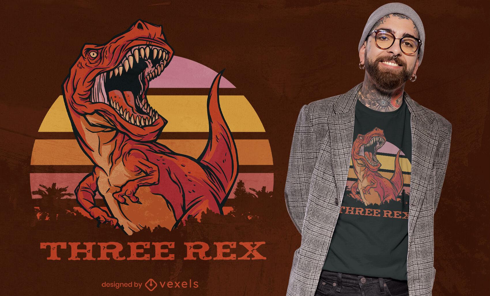 Dise?o de camiseta rad three t-rex