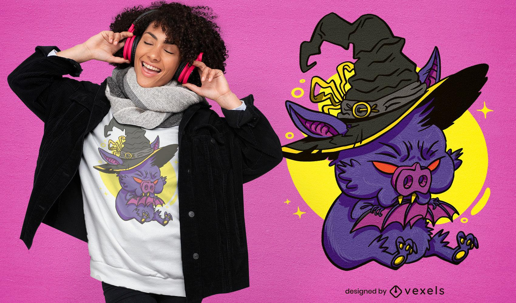 Spooky witch bat cartoon t-shirt design