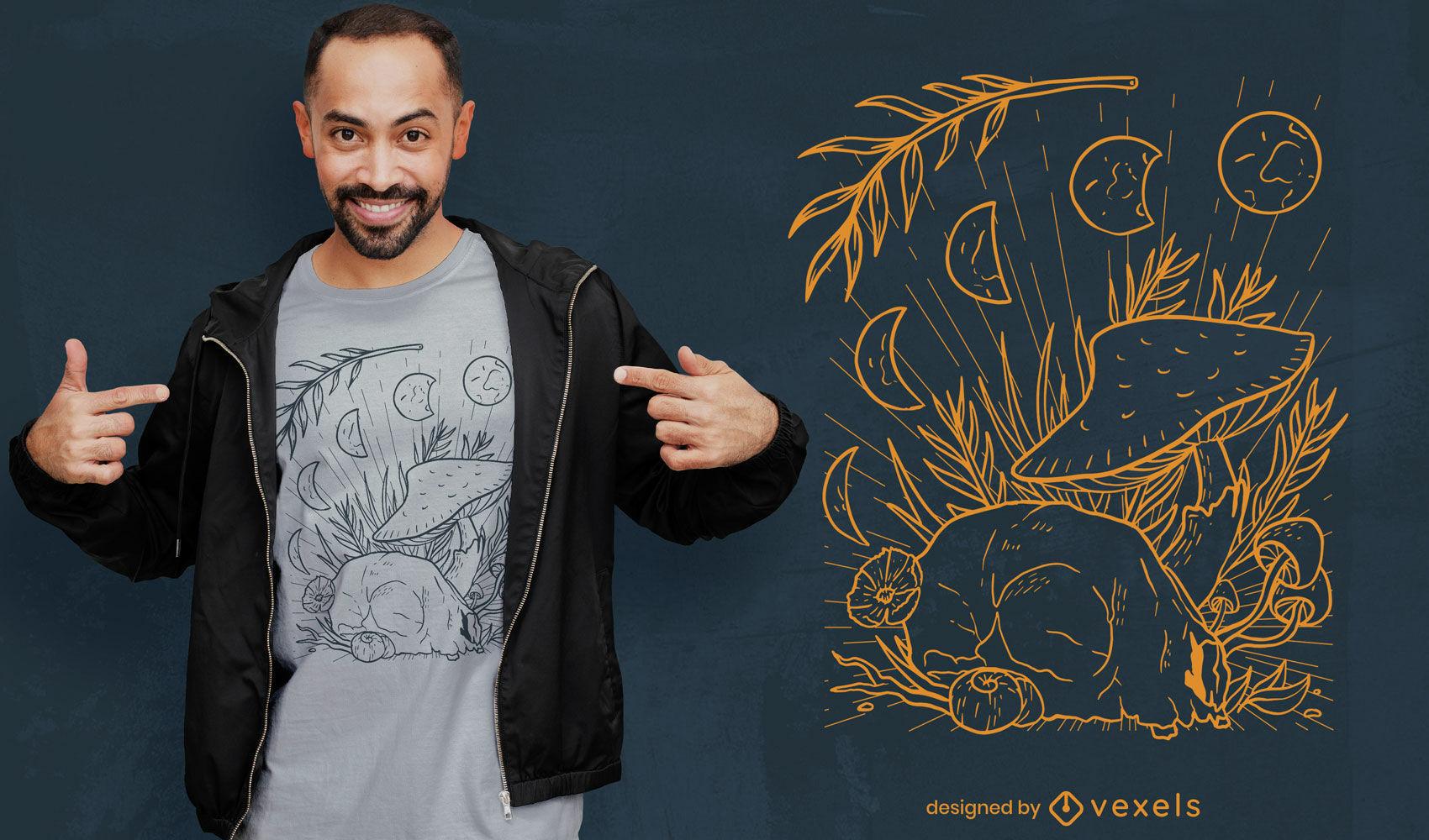 Design de t-shirt com lindos ciclos de lua