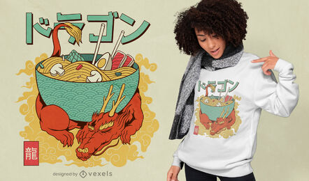 Diseño de camiseta japonesa dragon ramen.