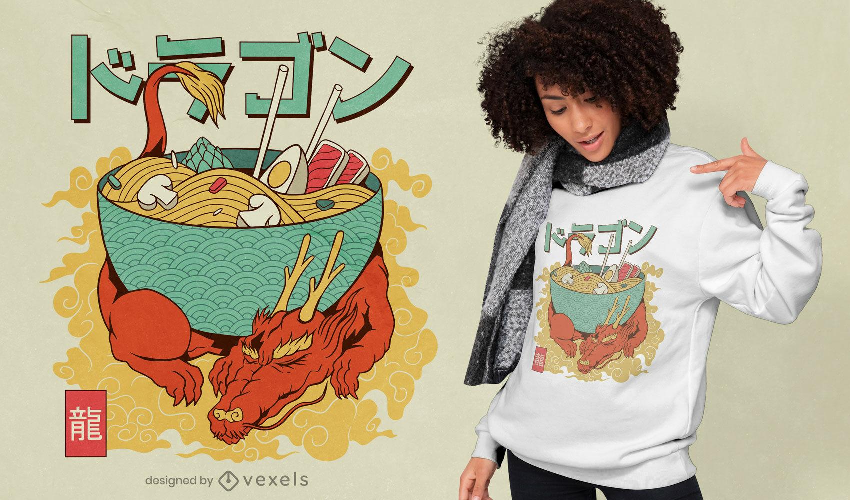 Design de t-shirt japonesa Dragon Ramen