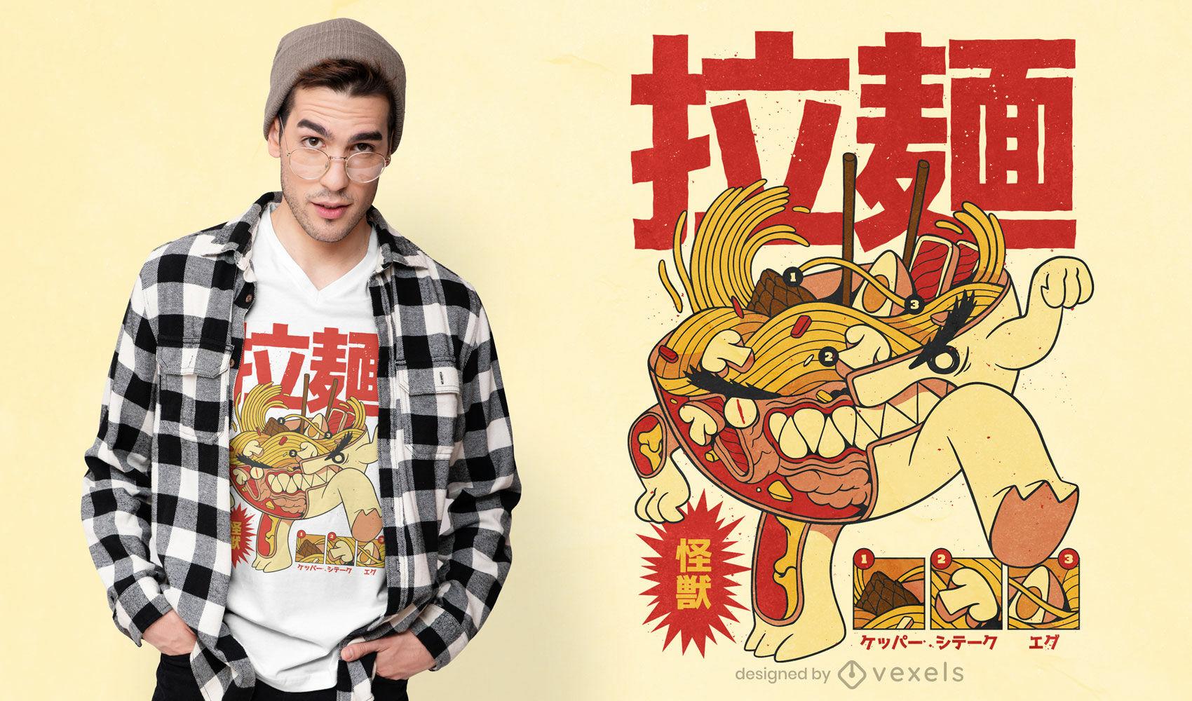 Cooles Ramen-Röntgen-T-Shirt-Design