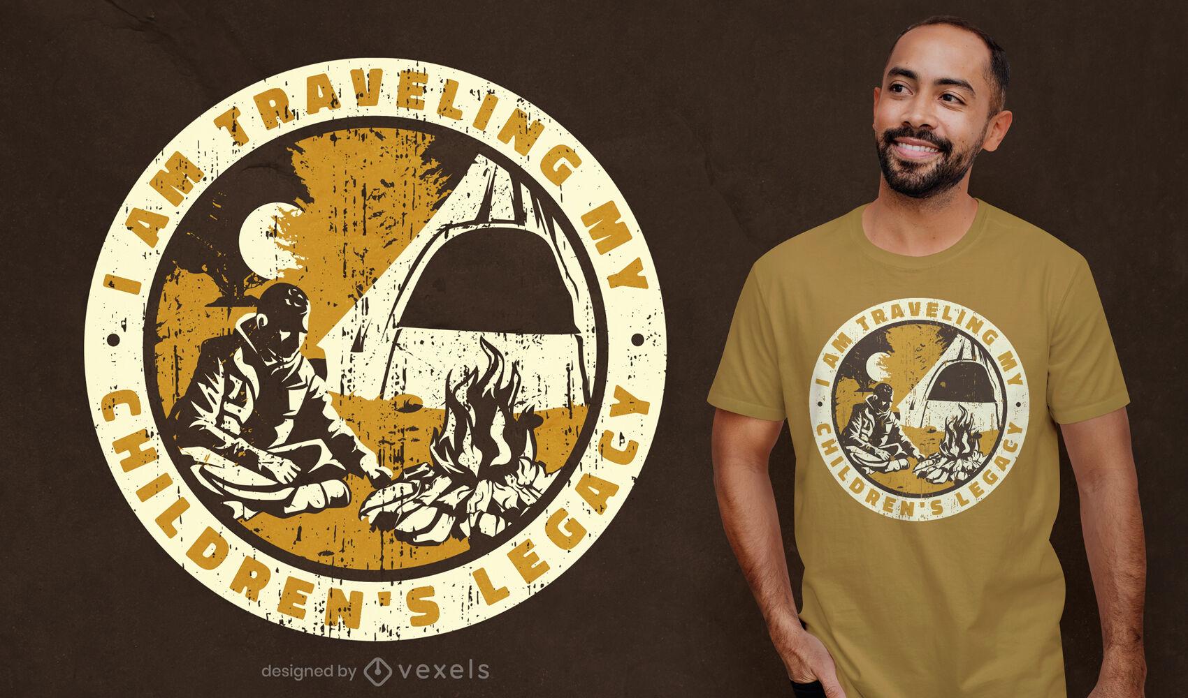 Design legal de camiseta legada para acampamento