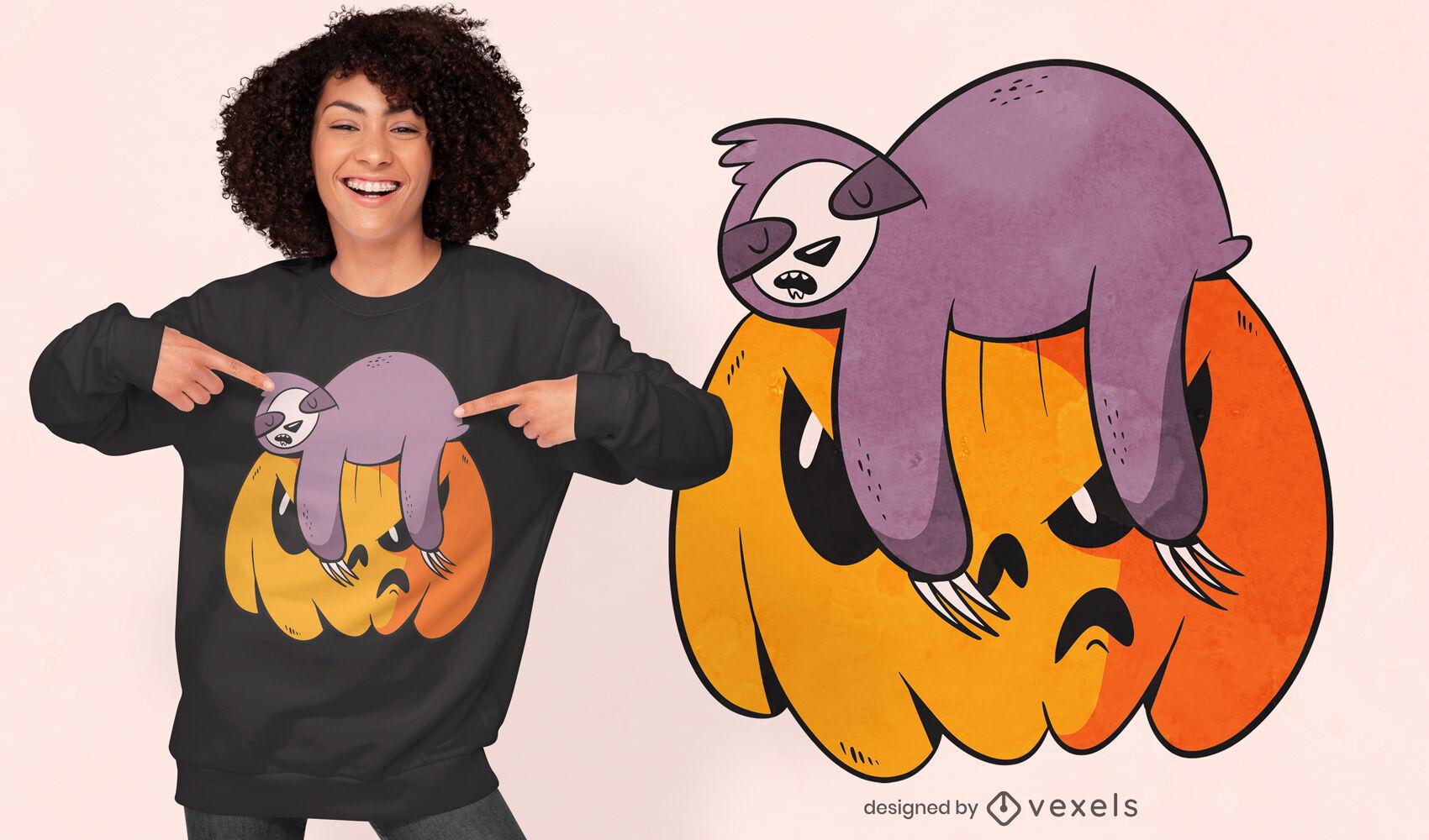 Design engraçado de t-shirt de preguiça e abóbora
