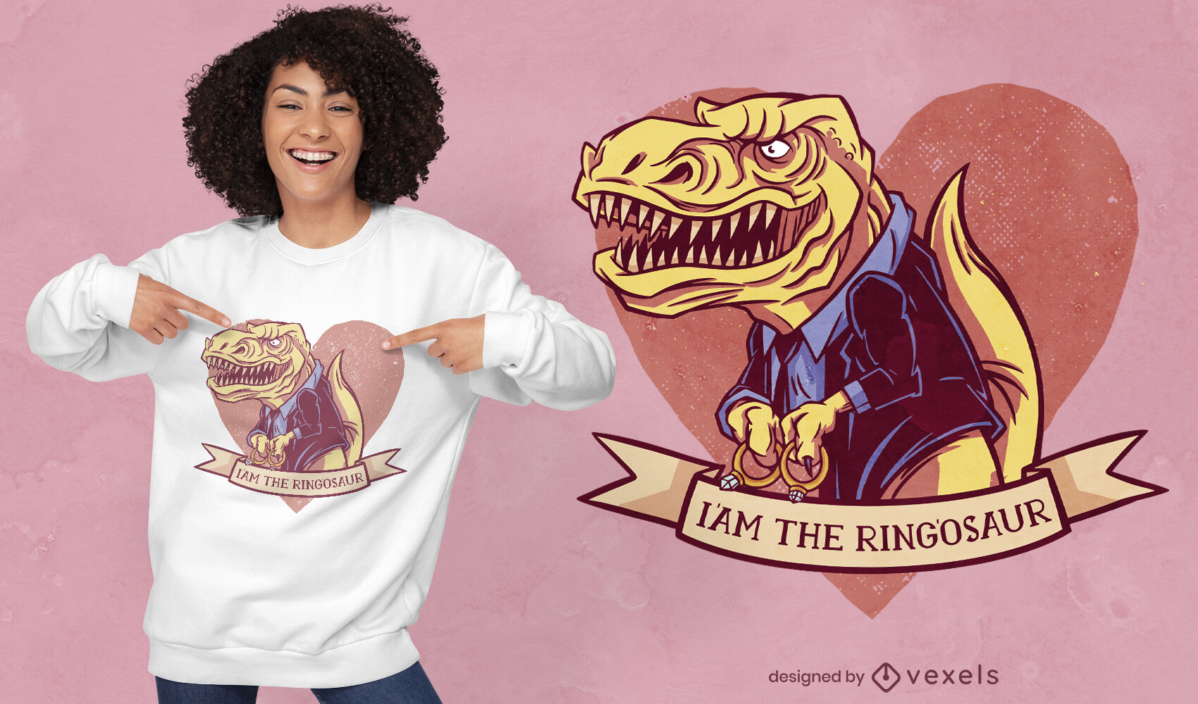 Ringosaur t-rex t-shirt design