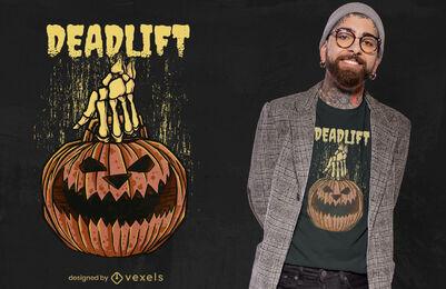 Diseño de camiseta de halloween de peso muerto de calabaza