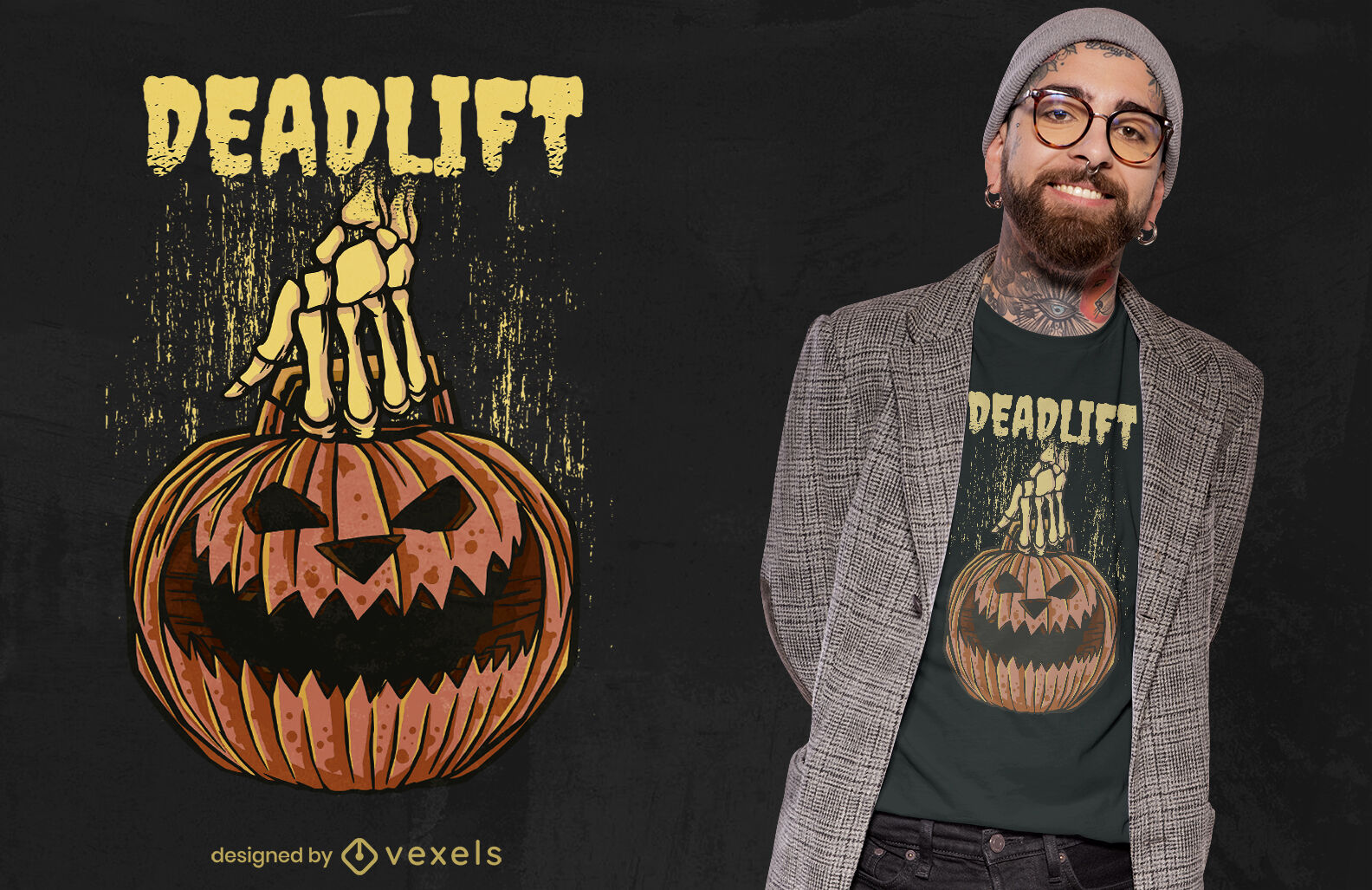 Kürbis Kreuzheben Halloween T-Shirt Design
