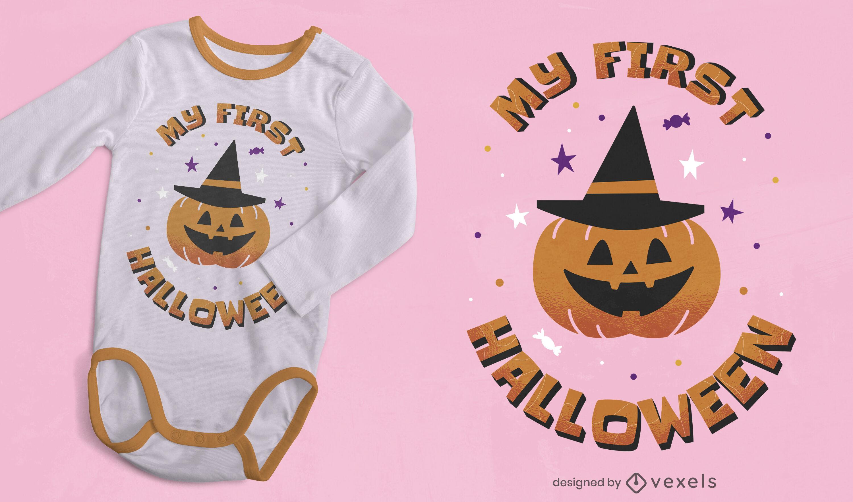 Diseño de camiseta de calabaza linda de Halloween
