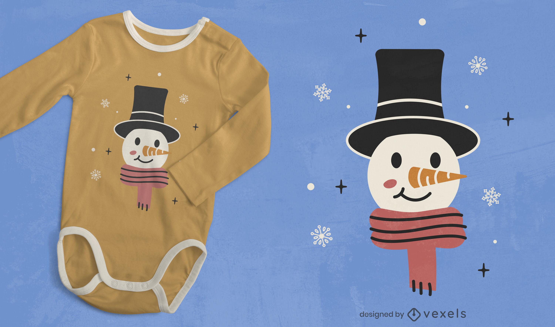 Dise?o de camiseta de invierno de mu?eco de nieve feliz