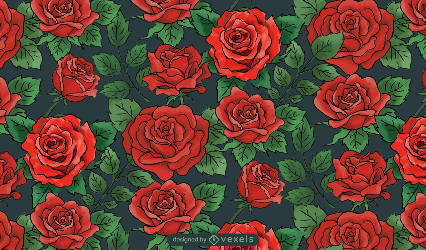 Projeto de padrão de flores de rosas e natureza
