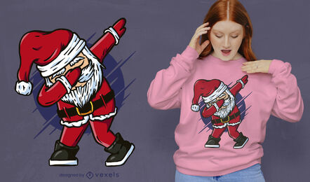 Funny dabbing Santa Claus t-shirt design