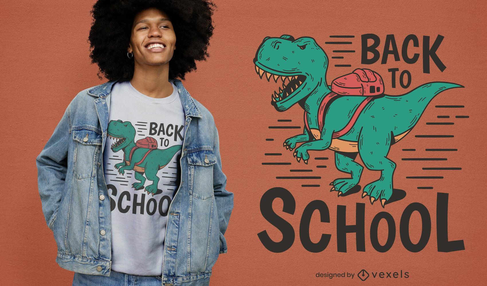 Diseño de camiseta de regreso a la escuela de dinosaurio t-rex