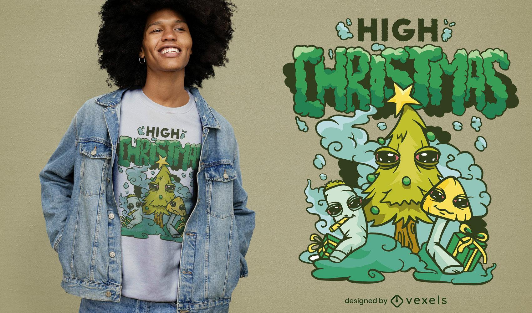 Cool high christmas t-shirt design