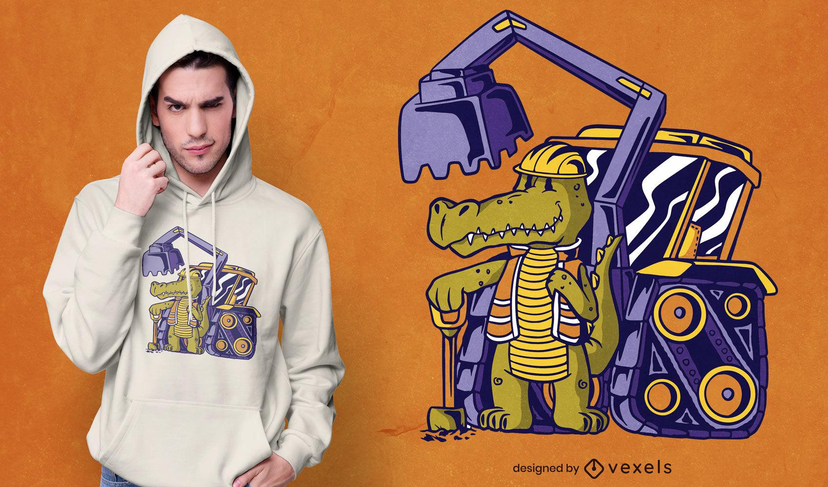 Lindo diseño de camiseta de trabajador de cocodrilo