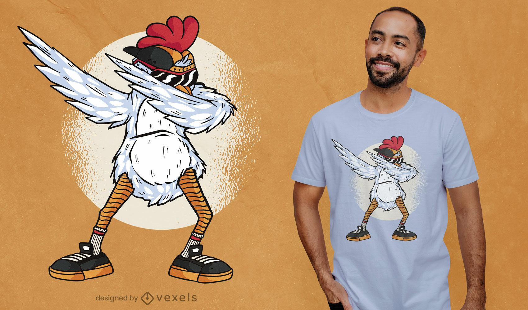 Design fixe de t-shirt com pintas de frango
