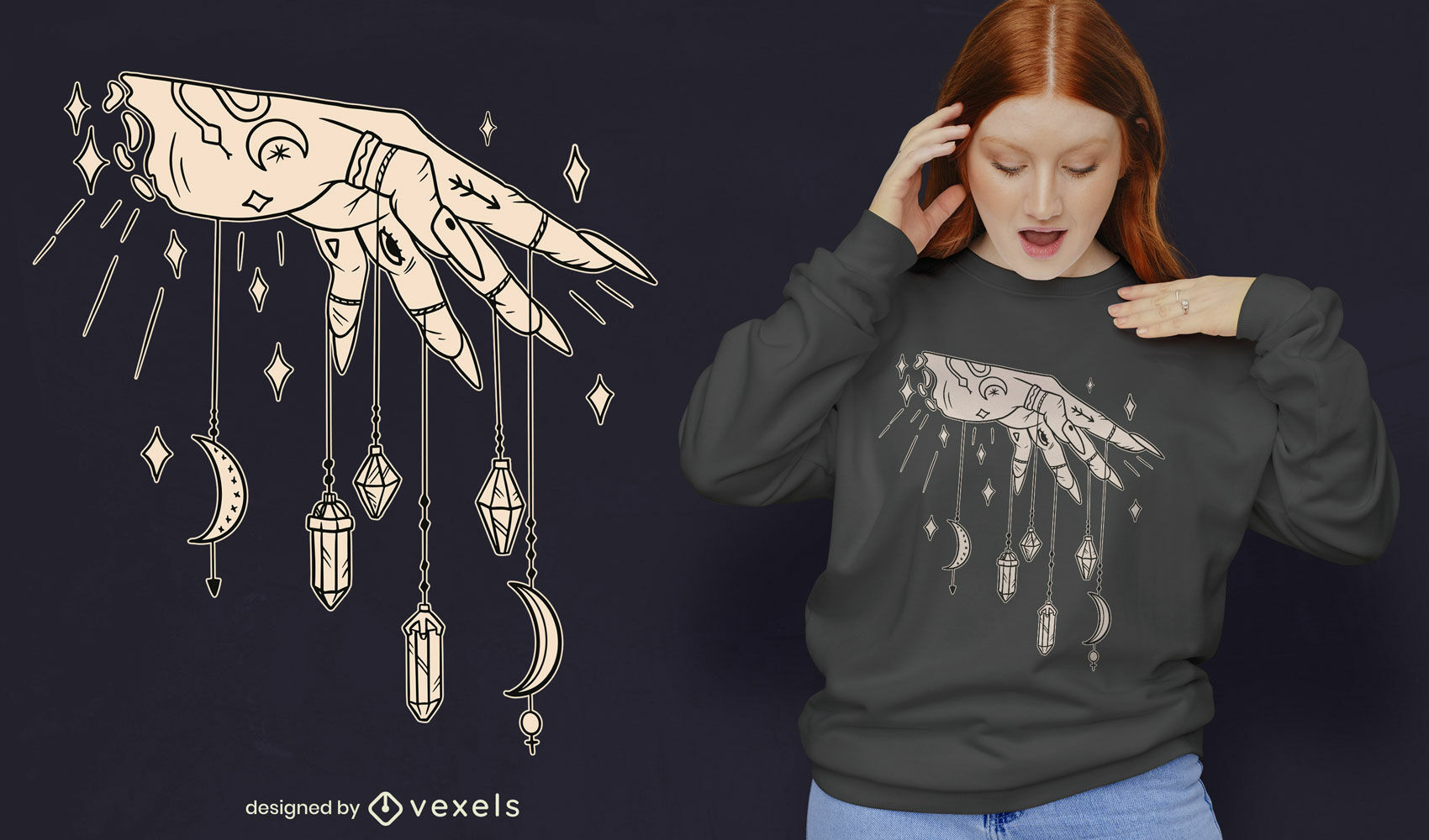 Hand and crystals t-shirt design