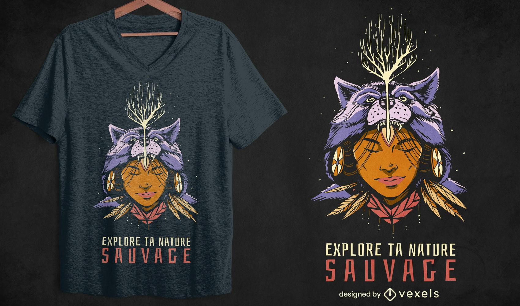 Design de camiseta com citação de mulher Chaman