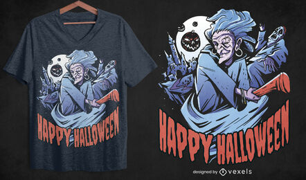 Scary halloween witch t-shirt design