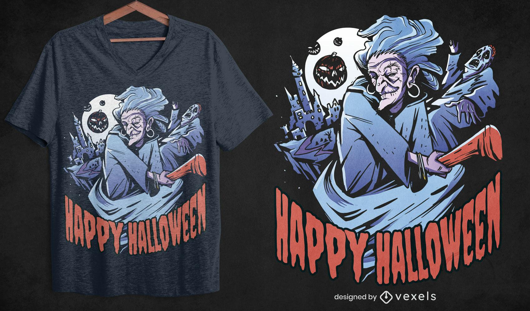 Diseño de camiseta de bruja de halloween de miedo