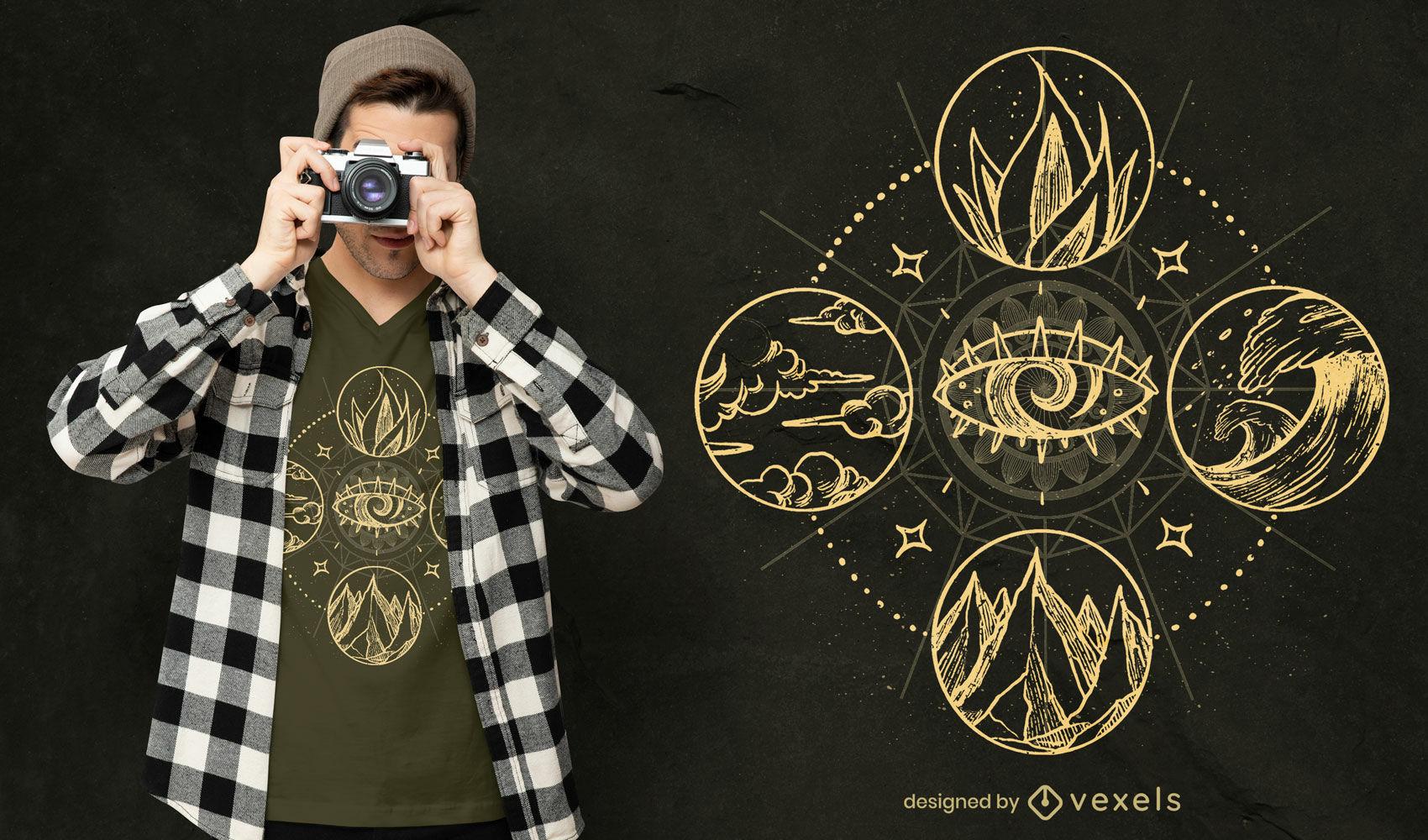 Diseño de camiseta de cuatro elementos naturaleza dibujada a mano.