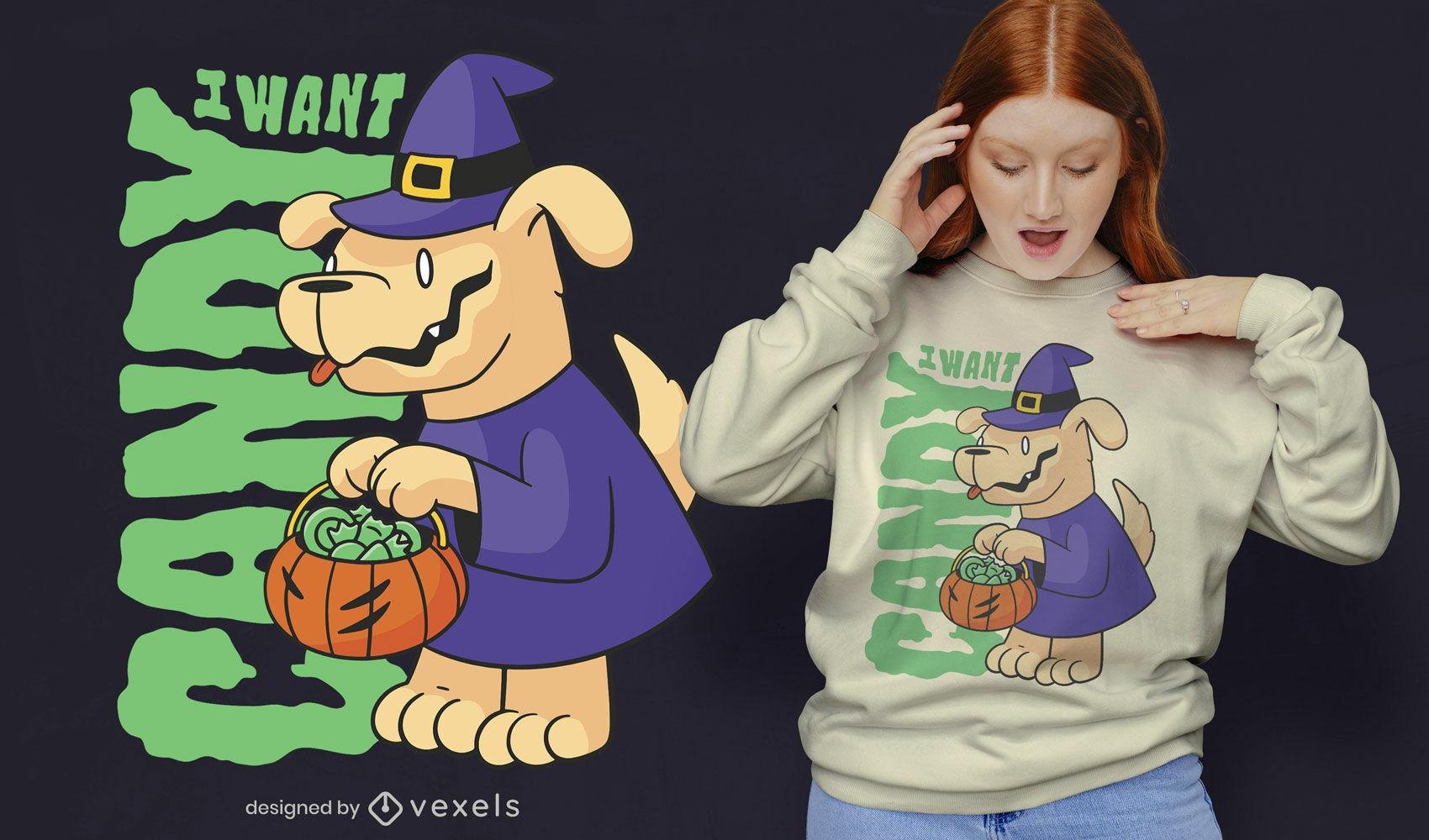 Diseño de camiseta de cita de caramelo de perro de Halloween