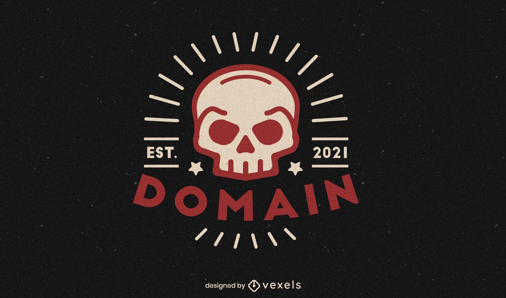 Human skull tattoo gothic logo template