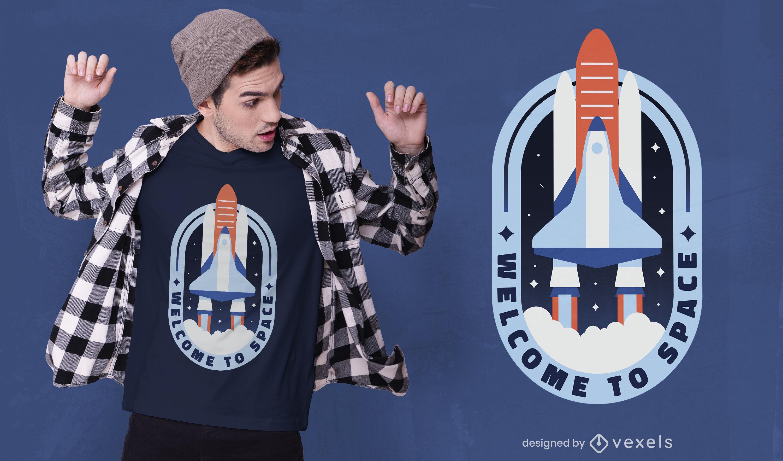 Diseño de camiseta de viaje espacial cohete galaxy.