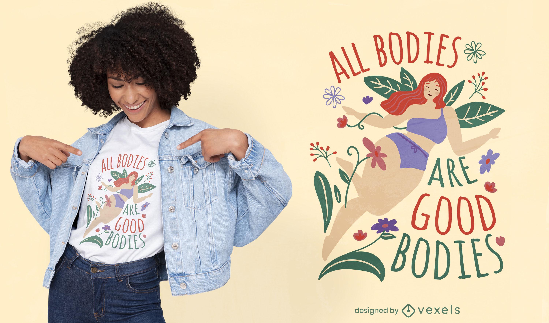 Diseño de camiseta de cita de cuerpo de mujer feliz