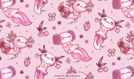 Diseño de patrón de axolotl kawaii