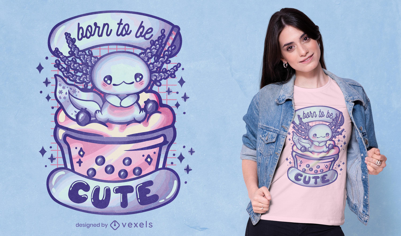 Design de camiseta fofa animal axolotl bebê