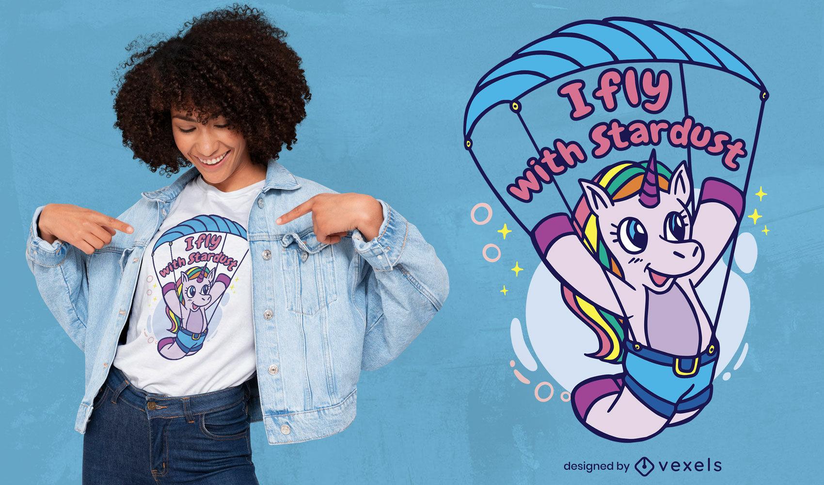 Unicorn creature paragliding t-shirt design