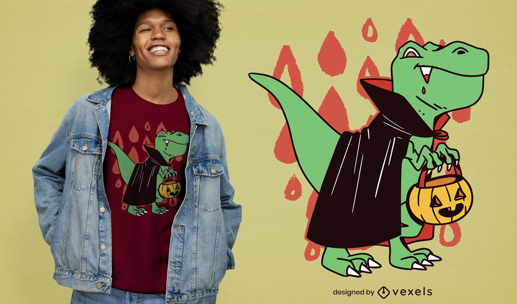 Dise?o de camiseta de halloween de dinosaurio vampiro t-rex