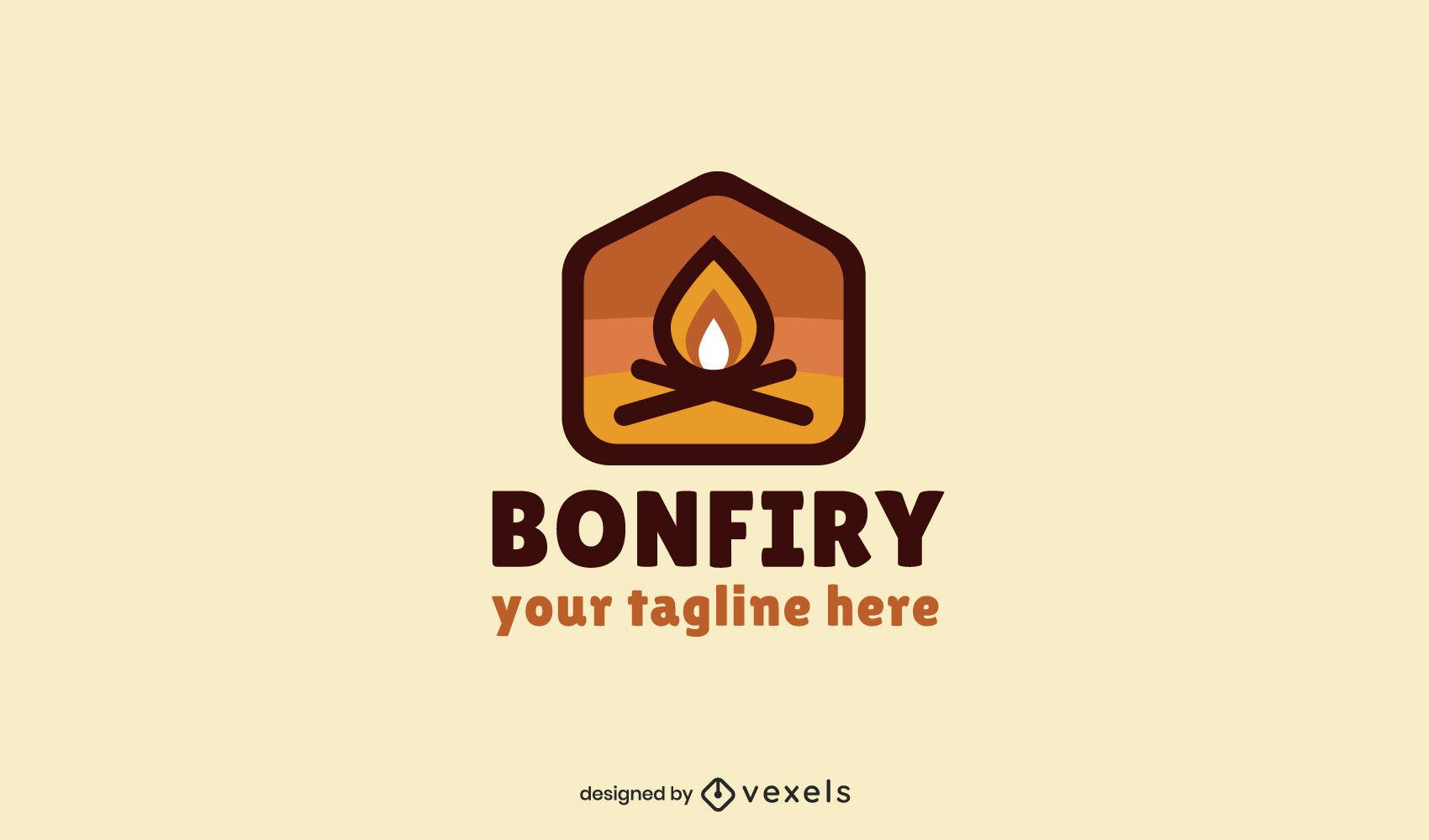 Modelo de logotipo simples do Bonfire