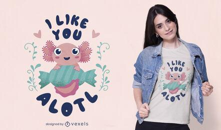 Happy baby axolotl cute t-shirt design