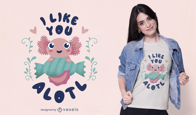 Diseño lindo de la camiseta del axolotl del bebé feliz