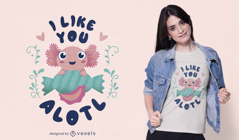 Projeto de camiseta fofa de axolotl bebê feliz