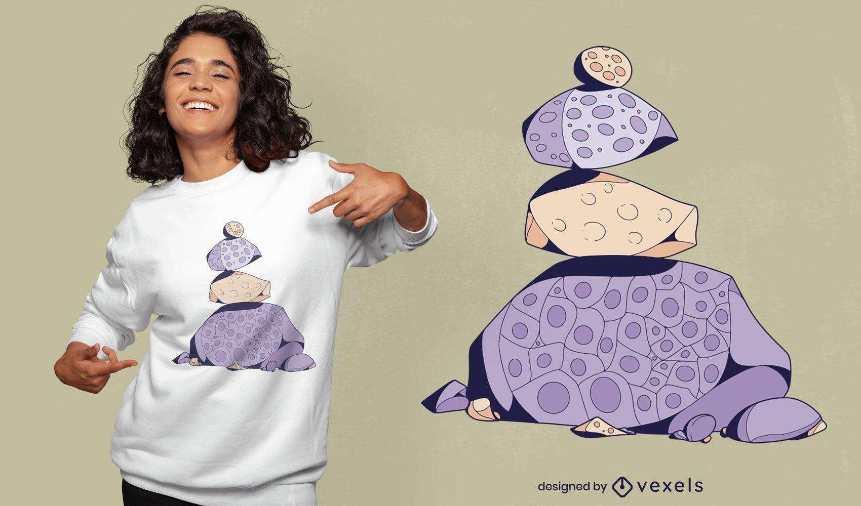 Design de t-shirt da natureza com pilha de pedra roxa