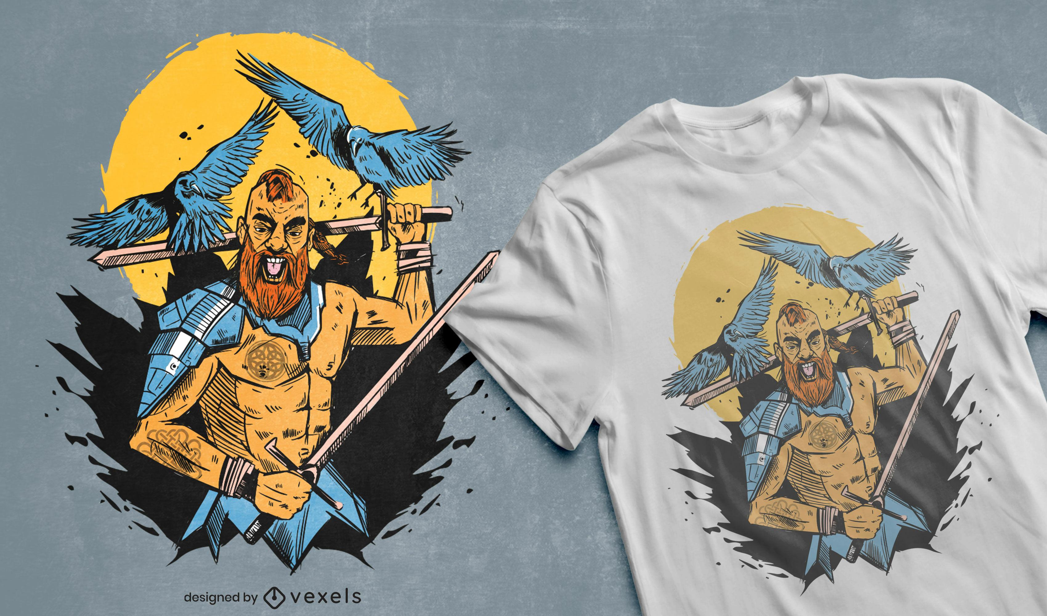 Diseño de camiseta de guerrero vikingo y espadas.