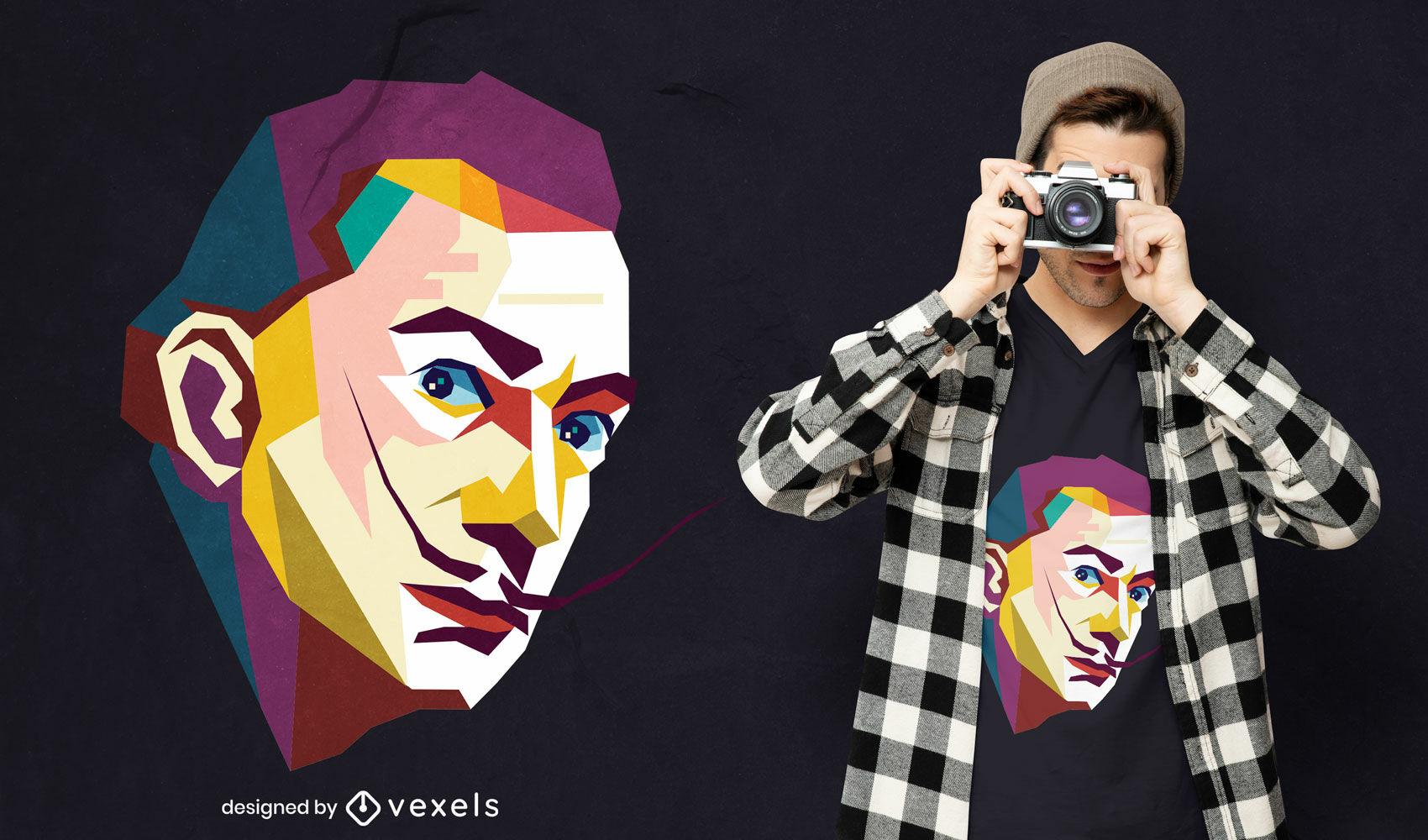 Dali pop art geometric portrait t-shirt design