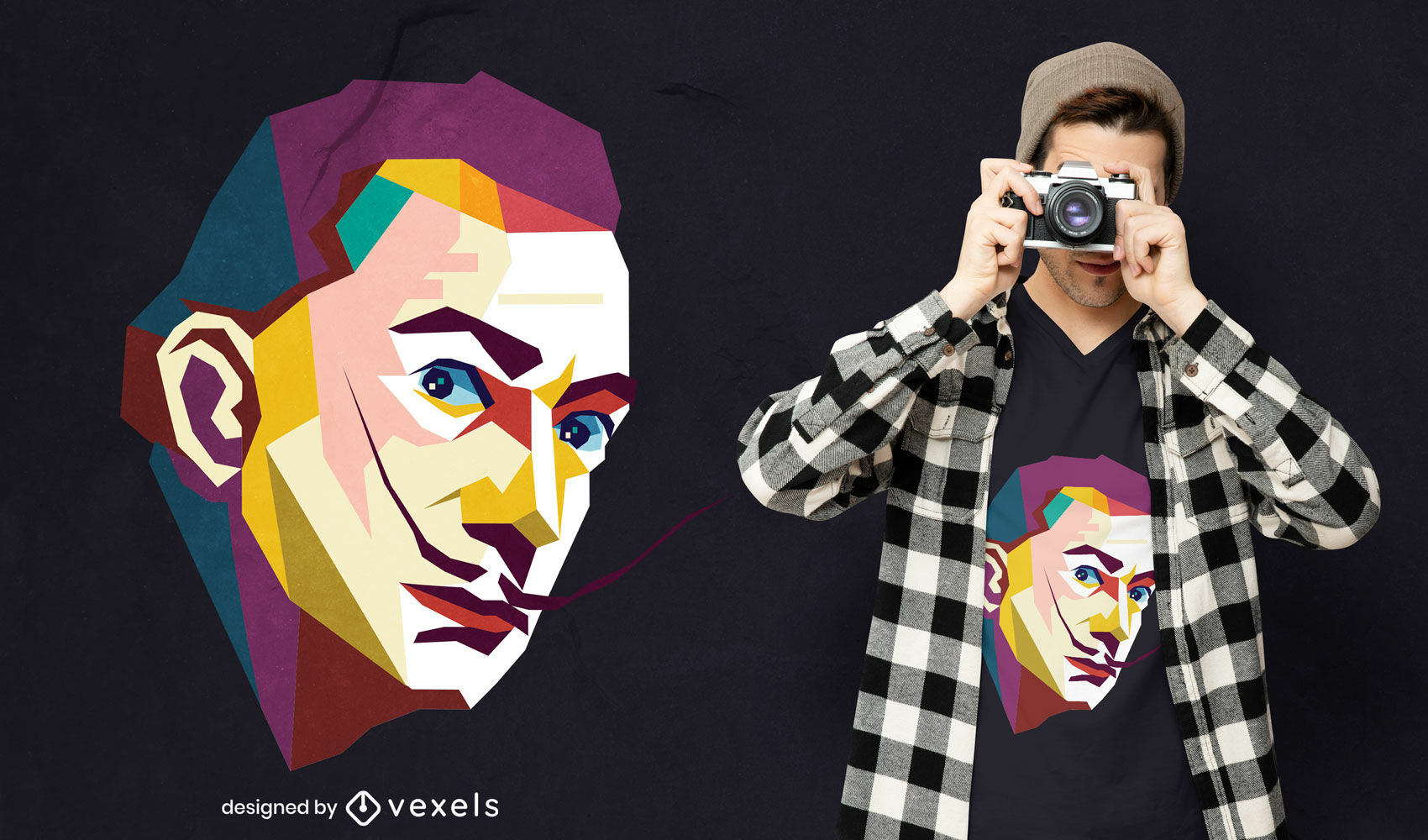 Diseño de camiseta de retrato geométrico del arte pop de Dali