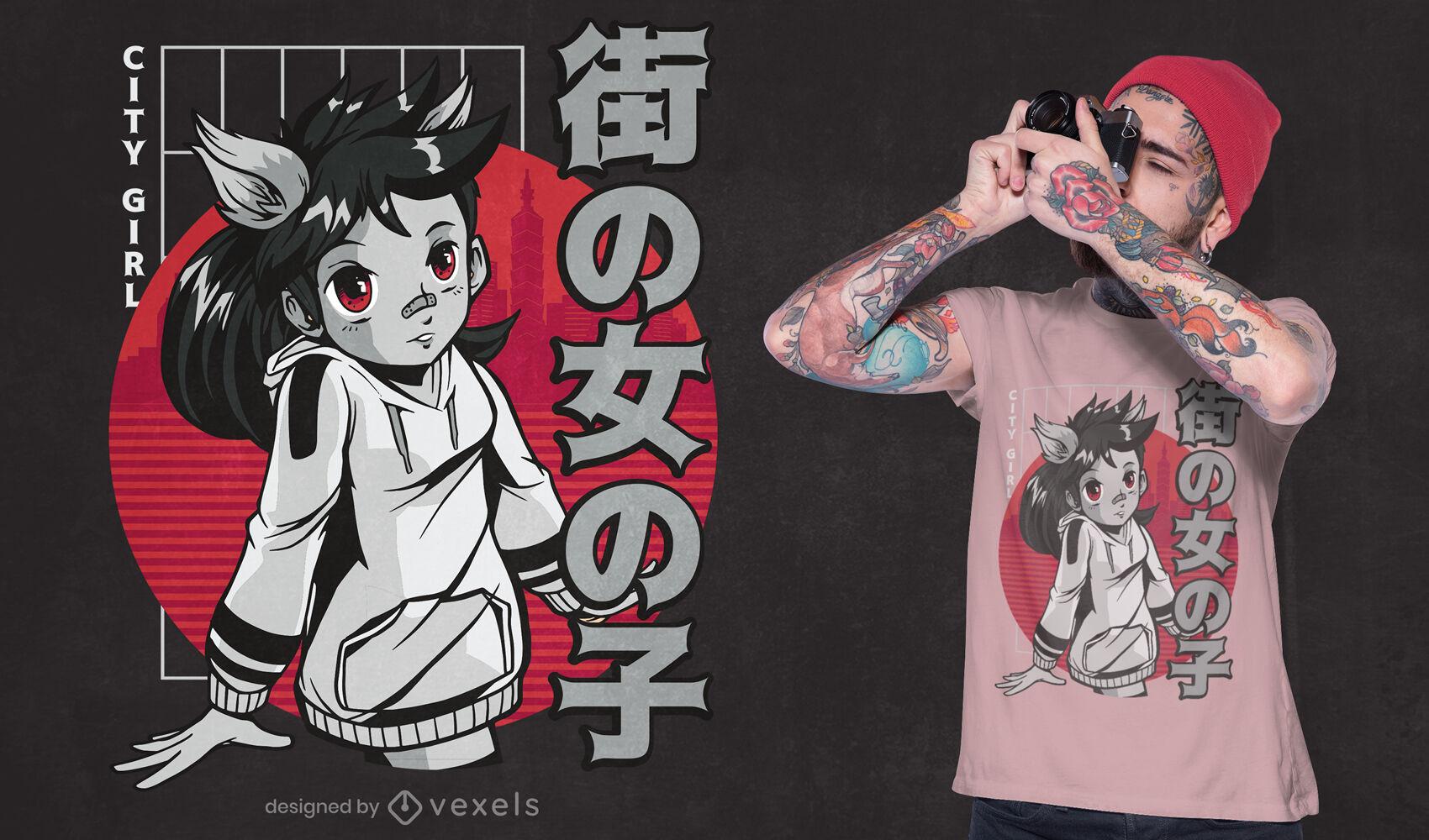 Diseño de camiseta de chica anime lobo japonés