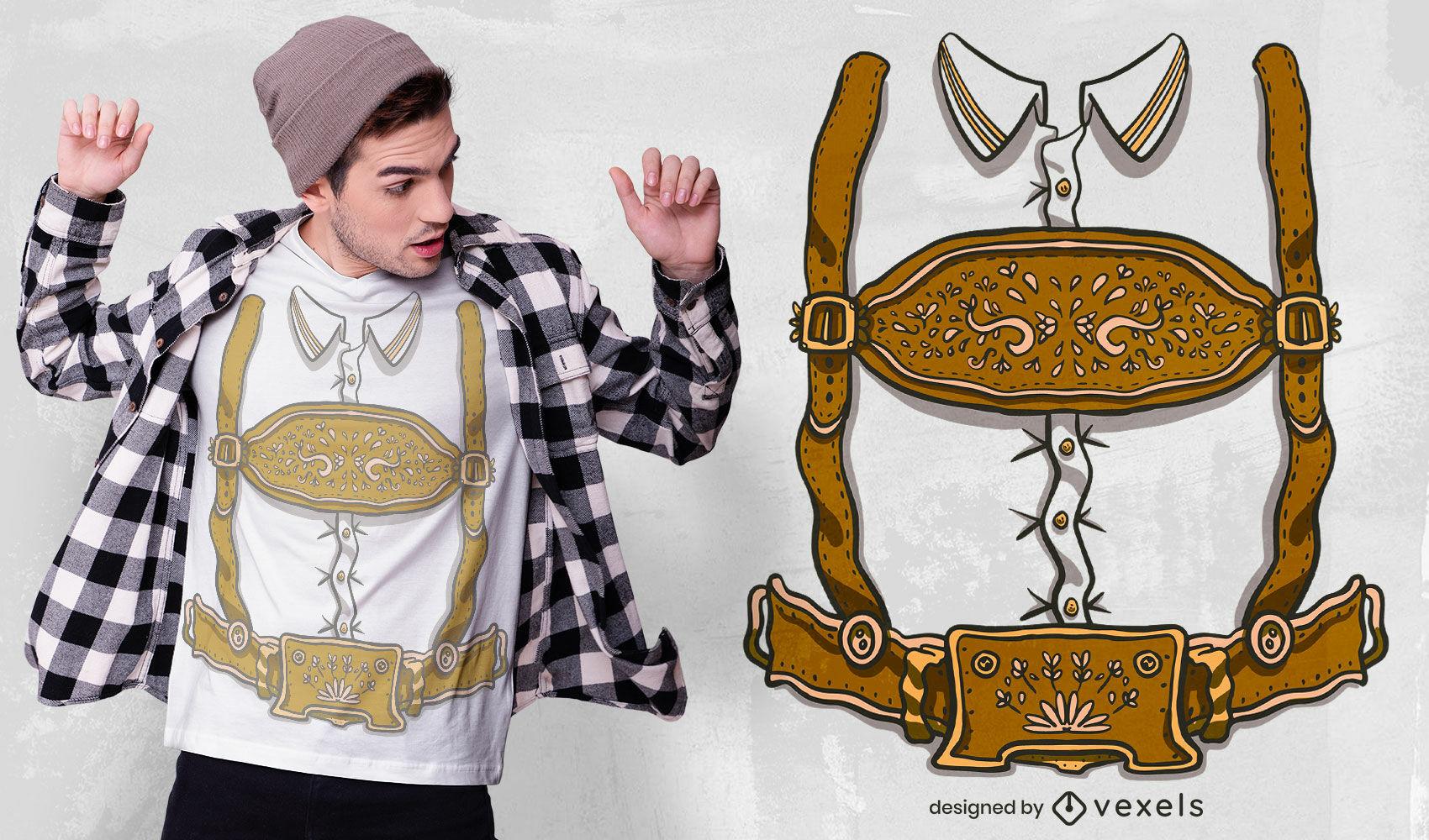 Diseño de camiseta de traje tradicional alemán.